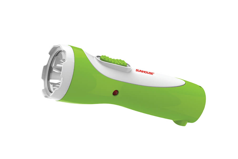 SUNHOUSE PORTABLE FLASHLIGHT SHE-4051 MEDIUM SIZE WHITE GREEN COLOR 003