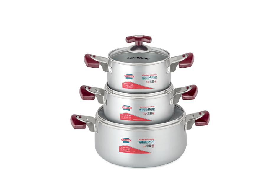SUNHOUSE anodized cookware set SH6633-18 handle type eb (16,18,24) 001