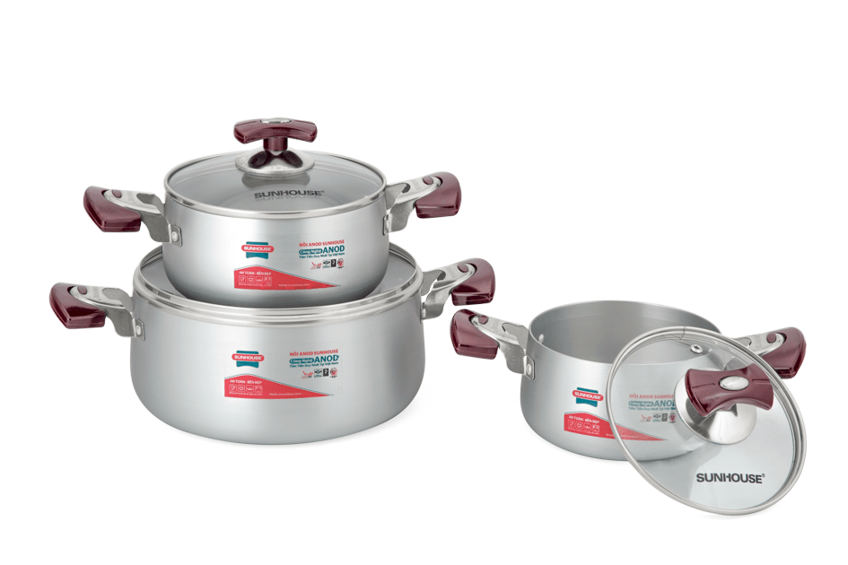 SUNHOUSE anodized cookware set SH6633-18 handle type eb (16,18,24) 002