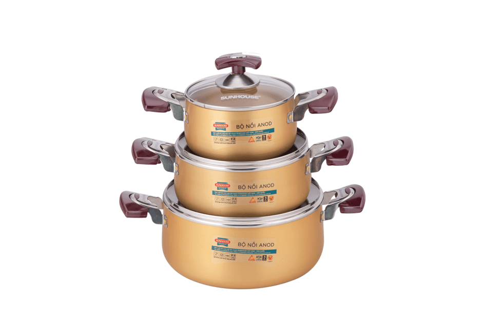 SUNHOUSE anodized cookware set SH6634 001