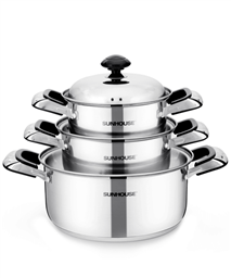 SUNHOUSE 3-piece three-layer-bottom cookware set SH333