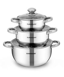 SUNHOUSE 3-piece three-layer-bottom cookware set SH334