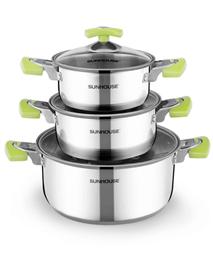 3-piece three-layer-bottom cookware set SUNHOUSE SH336
