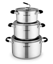 3-piece three-layer-bottom cookware set SUNHOUSE SH891