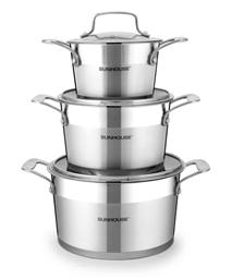 3-piece five-layer-bottom cookware set SUNHOUSE SH779