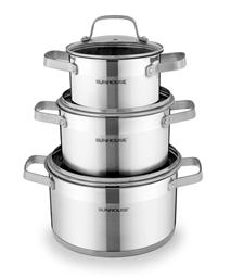 3-piece five-layer-bottom cookware set SUNHOUSE SH780