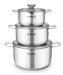 3-piece three-layer-bottom cookware set SUNHOUSE SH338