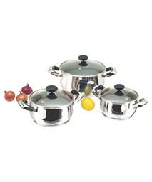 3-piece three-layer-bottom cookware set SUNHOUSE SH768 (GLASS LID)